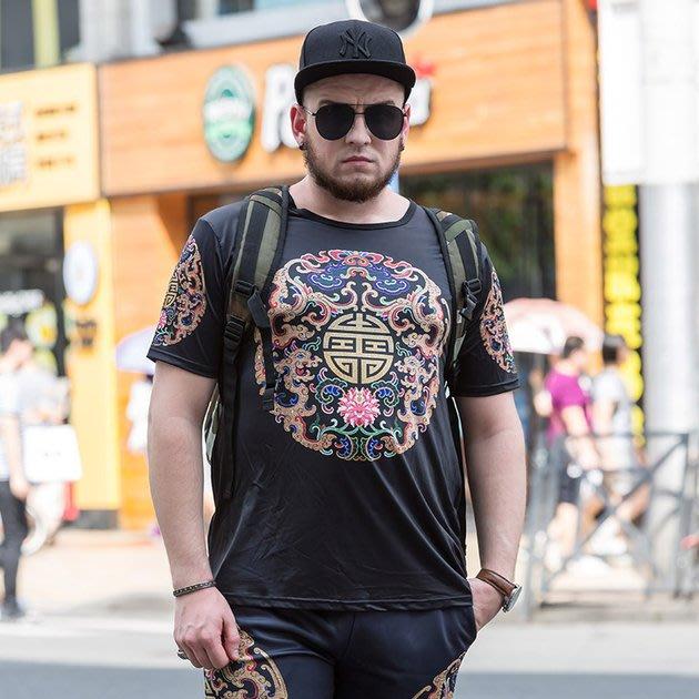 FINDSENSE品牌監製 大尺碼男裝 3D圖案加肥加大寬鬆短袖上衣薄款個性印花短袖夏季男大尺碼寬鬆透氣T恤速乾排汗T