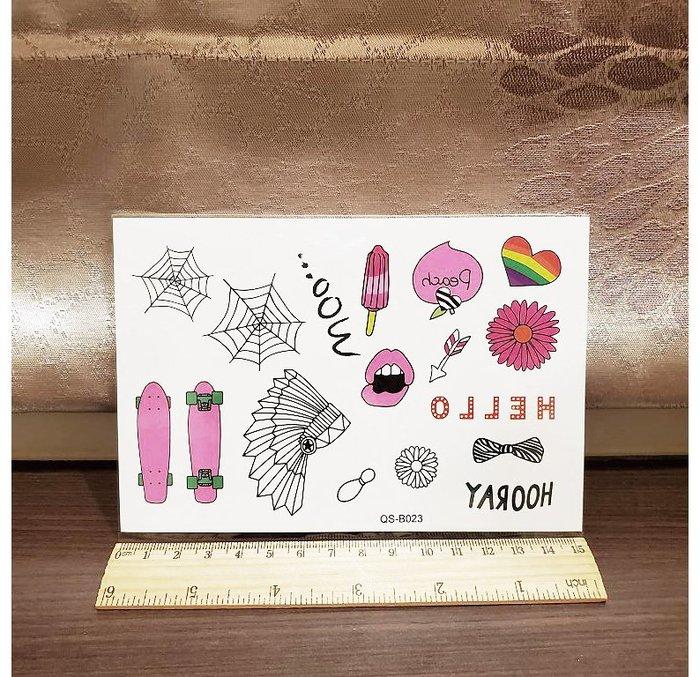 【萌古屋】滑板蜘蛛網 - 手背防水紋身貼紙刺青貼紙QS-B023 K41