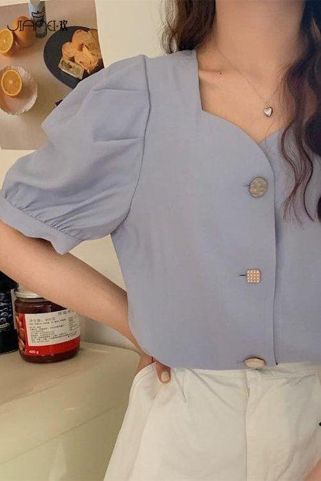 韓版泡泡袖法式復古短款上衣設計感小眾方領短袖雪紡襯衫女夏季 -【多色小屋】