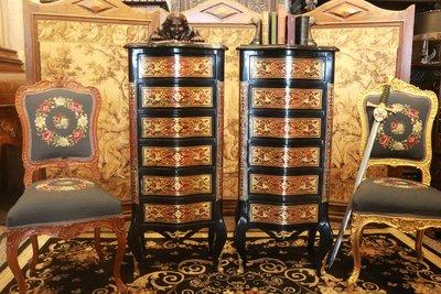(已售)【家與收藏】特價稀有珍藏歐洲百年古董博物館級法國18世紀布勒風格精緻手工銅金鑲嵌Inlaid高邊櫃/置物櫃