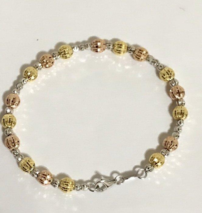*金色風暴*~ 義大利585K金 ~ 大顆三色大小刻花珠珠手環 ~ 造型,14k項鍊,不褪色,送禮,免運,女生最愛