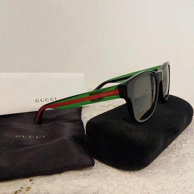 【歐洲精品代購】GUCCI 墨鏡/黑框墨鏡/太陽眼鏡/紅綠配鏡腳