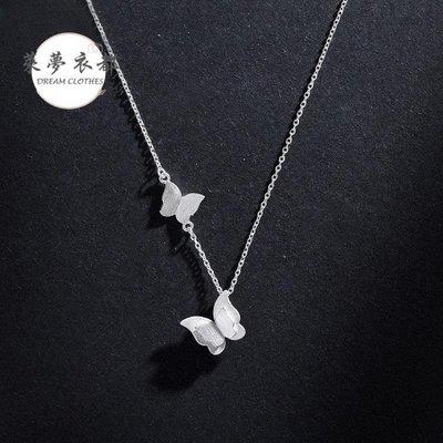 項鍊韓國新款銀質項鍊女小清新雙蝴蝶項鍊優雅氣質短款鎖骨鍊女