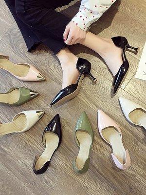 小尤家~chic高跟鞋女夏季新款金屬尖頭細跟單鞋韓版百搭法式少女涼鞋