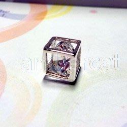 琥珀貓銀飾DIY【925純銀飾品】墜飾~A0805~鋯石方塊~一個