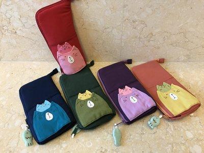 日本卡拉貓~配色二貓鋪棉筆袋 眼鏡收納袋
