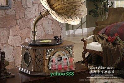 美學8歐式古典留聲機 黑膠唱片機 仿古收音機 臺式 老式 餐廳家庭裝飾❖74183