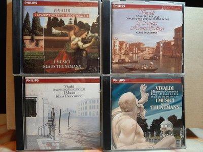 Thunemann,Holliger,Vivaldi-Bassoon & Oboe.c,Thunemann & 賀利嘉,演繹韋瓦第巴松管及雙簧管協奏曲,如新。