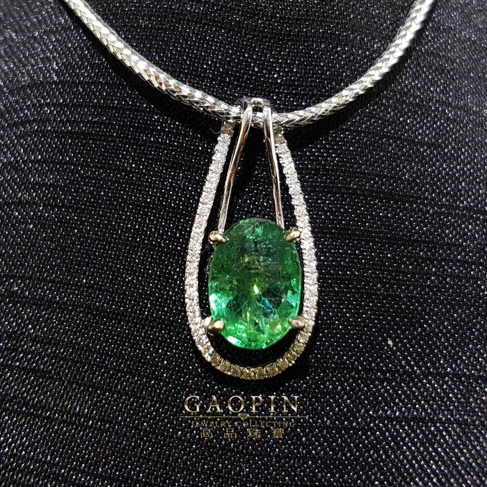【高品珠寶】2.70克拉尚比亞微油袓母綠墜子 女墜 #1230