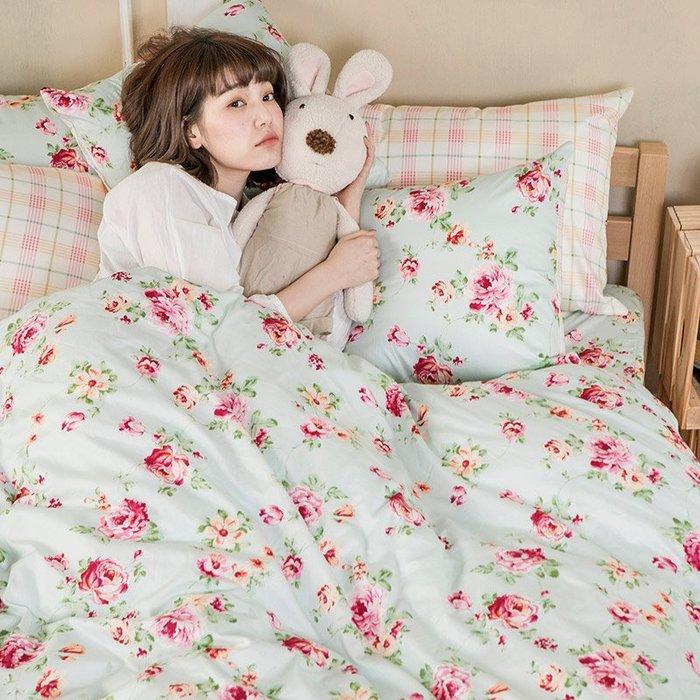 床包兩用被組 / 雙人特大【玫瑰粉格】含兩件枕套  100%精梳棉  戀家小舖台灣製AAS515