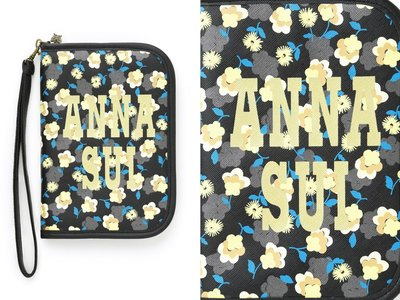 日雜ANNA SUI 20週年紀念特刊附錄雛菊圖案多功能萬用拉鍊收納夾