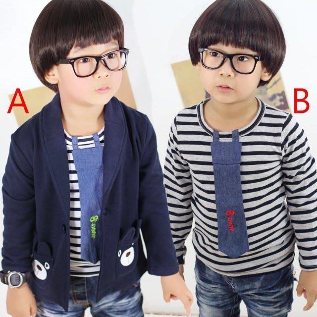 韓版《條紋領帶款》百搭長袖上衣 (L4-3)