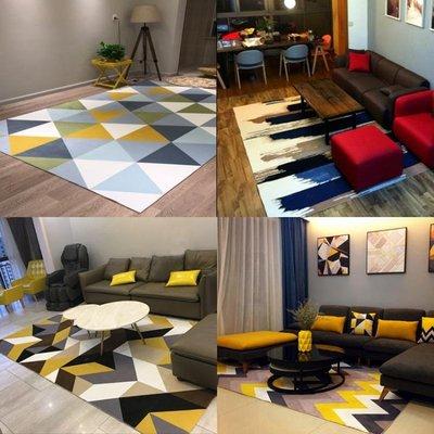 幾何房間沙發北歐地毯客廳簡約現代茶幾毯臥室床邊地墊可機洗WY