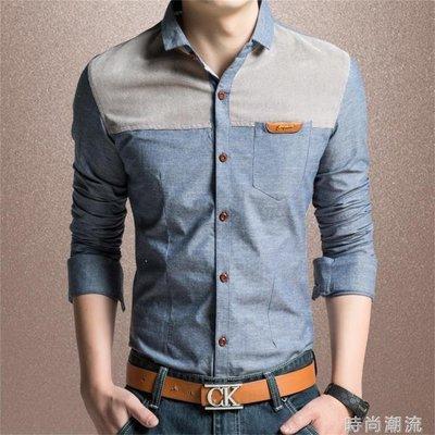 ZIHOPE 牛仔襯衫拼接短袖襯衣韓版修身純棉青年寸衫商務休閒長袖男士大碼ZI812