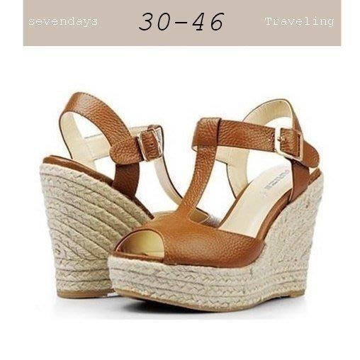 大尺碼女鞋小尺碼女鞋丁字羅馬麻編楔型厚底涼鞋魚口鞋棕色(3031-43444546)現貨#七日旅行