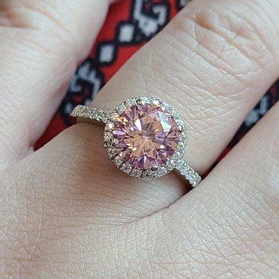 粉紅鑽彩鑽結婚鑽戒第一名頂級仿真鑽石媲...