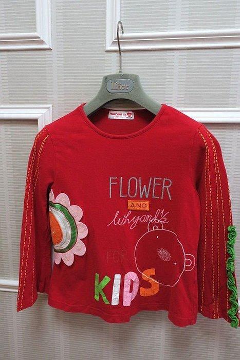 *Beauty*WHYAND 1/2紅色立體花長袖棉T恤  13   號 500元GR