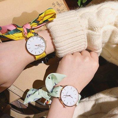 夏季休閒新款手錶簡約學生石英錶日系少女小清新布帶圓錶綁帶腕錶