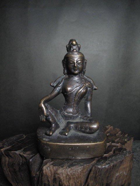 老銅雕◎  西藏銅佛 自在觀音  【大明宣徳年製 款】