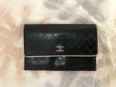 正貨限量絕版Chanel 銀包 黑皮 菱格銀色logo長型銀包 有拉鍊散子位可放硬幣 容量大易收納卡片包ft