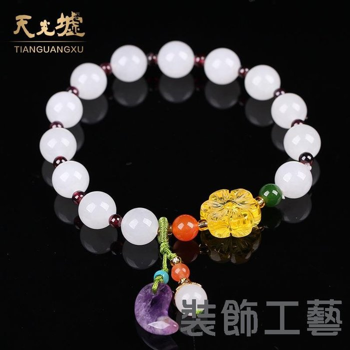 和田玉手飾天然和田白玉玉石手鏈珠寶玉器HTY3010