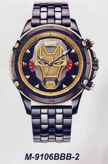 [靚錶閣]正品漫威MARVEL 鋼鐵人 M-9106BBB-2黑鋼款