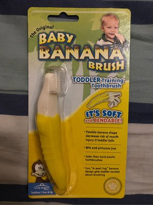【現貨】美國【Baby Banana Brush】不剝皮黃色香蕉牙刷固齒器 寶寶健齒器 直立型 無毒矽膠 台灣廠商公司貨