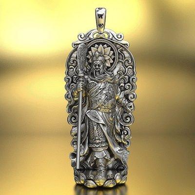 【睿智精品】925銀飾 神像 佛像 關聖帝君 關公吊墜 義薄雲天 法像莊嚴(GA-4813)