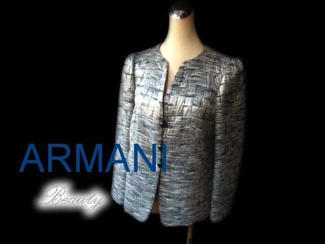 *Beauty*ARMANI銀灰藍絲質長袖外套 WE14 近全新