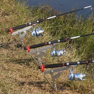 【自動魚竿起竿支架-三代-竿托長20-地插6*19.5cm-1套/組】不銹鋼 三代釣魚杆 分三檔可調靈敏度-76017