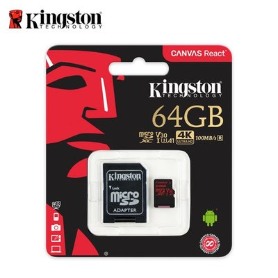金士頓 64GB Canvas React microSD UHS-I U3 A1 記憶卡 公司貨 (KTCR-64G)