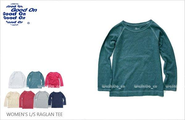 WaShiDa 女裝 Good On 日本品牌 自然 色落 斜肩 拉克蘭 七分袖 長袖 棒球 T恤 上衣 T恤