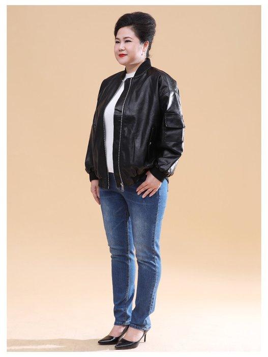 2224E 黑色短款皮衣夾克式寬鬆拉鍊2XL-4XL秋冬婆婆裝媽媽裝風衣女裝外套大尺碼大碼超大尺碼