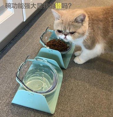 【蘑菇小隊】貓碗雙碗食盆狗碗 保護頸椎斜口傾斜寵物碗-MG26710