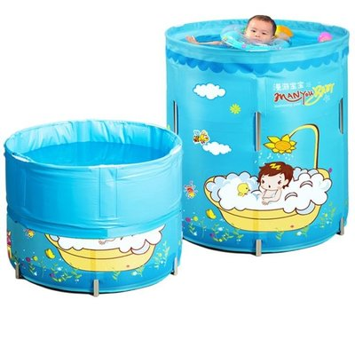 寶寶可折疊嬰兒游泳池家用新生兒童小孩保溫寶寶游泳桶免充氣   IGO