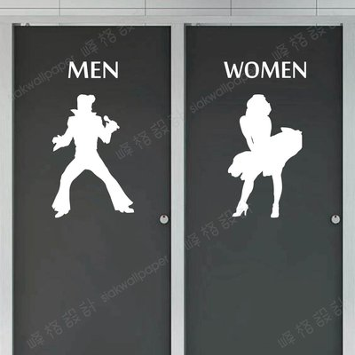 峰格壁貼〈廁所標誌 /P062L〉L尺寸賣場   WC 營業場所標示 防水貼紙    男女洗手間標誌 restroom