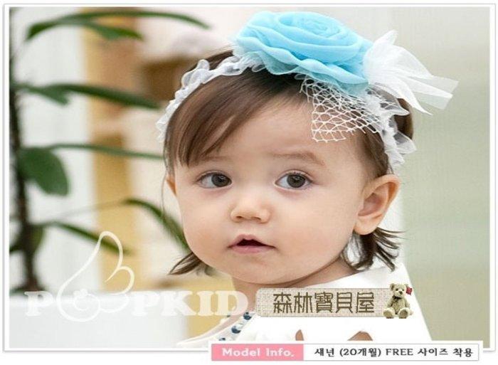 森林寶貝屋~韓款~幼兒超萌大玫瑰花髮飾~寶寶立體紗花髮帶~可愛嬰兒頭飾~兒童髮飾~髮箍~拍照必備~3色發售