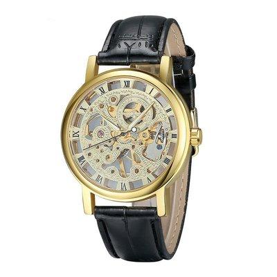 正品手錶專賣爆款正品香港winner男士手錶 手動鏤空機械錶 皮帶手錶男錶機械錶