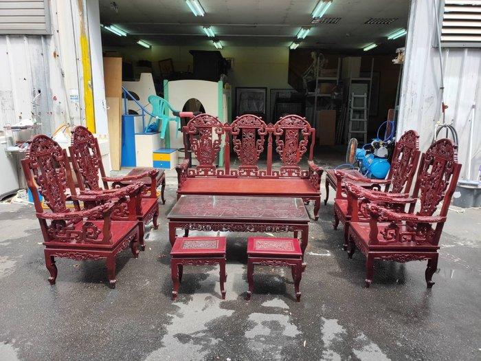 非凡二手家具 緬甸頂級紅花梨 雕刻龍椅戰國十件組*原木沙發椅*矮凳*大茶几*小茶几*木製沙發*