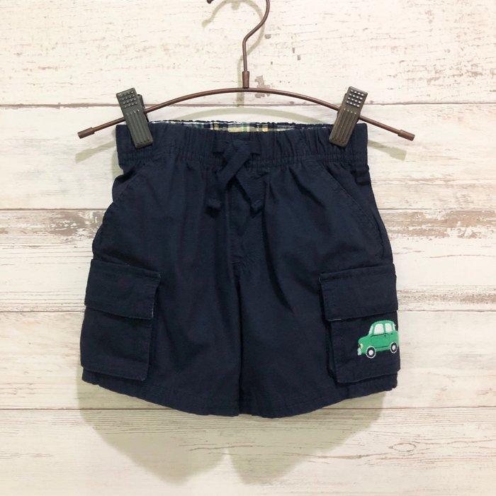 Maple麋鹿小舖 美國購買童裝品牌 GYMBOREE 男童深藍色電繡車車短褲 * ( 現貨12-18 mos )