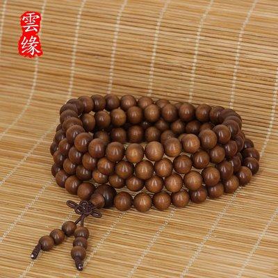 印度老山檀香黑肉手串108顆念珠手鏈 檀木佛珠沉水