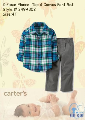 【BABY HOUSE】Carter's藍綠格衫套褲US:4T『2-Piece Flannel Top& Pant』