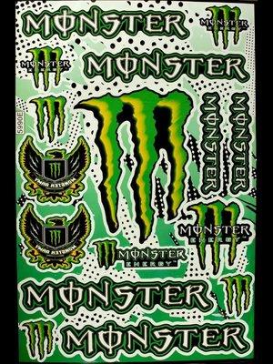 【高橋車部屋】大張彩貼 (25) 貼紙 機車 Monster 鬼爪 BWS 滑胎 越野 rockstar