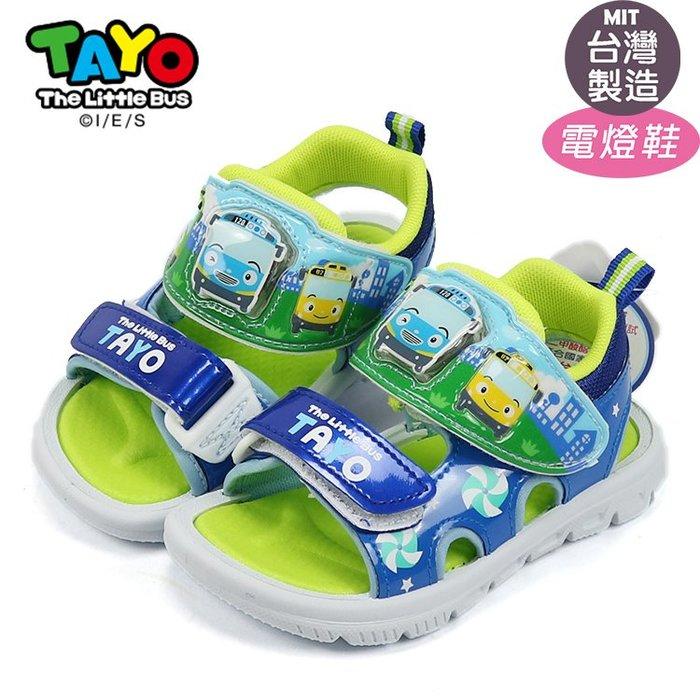 TAYO泰路小巴士兒童可調整魔鬼氈閃亮電燈涼鞋.兒童涼鞋 藍15~19號T83815