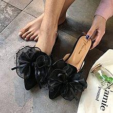 拖鞋夏2018新款低跟包頭半拖鞋女懶人女鞋花朵尖頭外穿涼拖穆勒鞋
