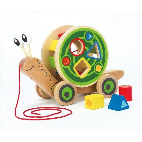 【美國代購 特價新品】德國Hape愛傑卡 蝸牛分類積木拉車 兒童節禮物
