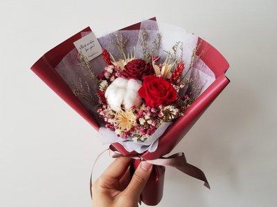 紅玫瑰永生+乾燥花迷你小花束│乾燥花束...
