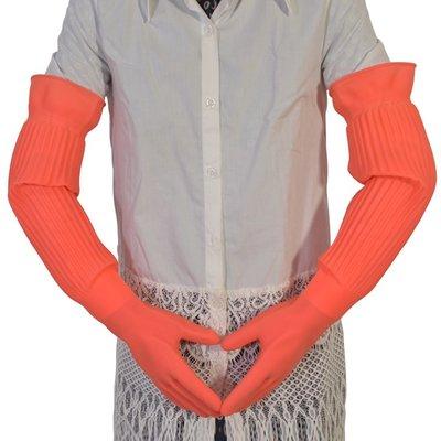 膠皮手套超長加長款防水加厚塑膠洗碗橡膠加絨長袖耐磨勞保手臂的