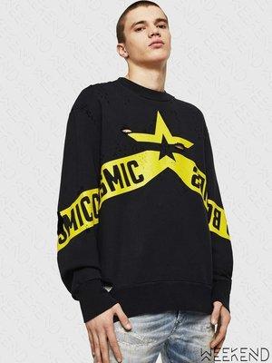 【WEEKEND】 DIESEL S-BAY-HOLES 破壞 外縫標籤 寬鬆 衛衣 大學T 黑黃