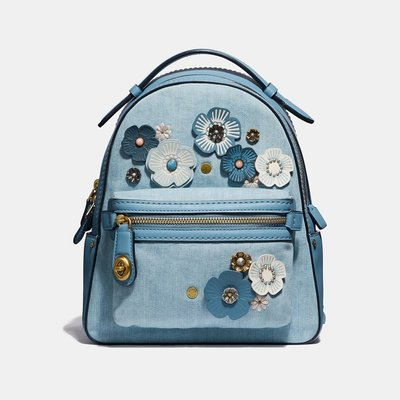 Coco小舖COACH 54068 Tea Rose Campus Backpack 23 丹寧茶香玫瑰後背包